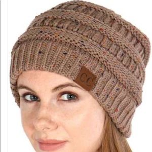 Taupe C.C Confetti Cable Knit Beanie Hat